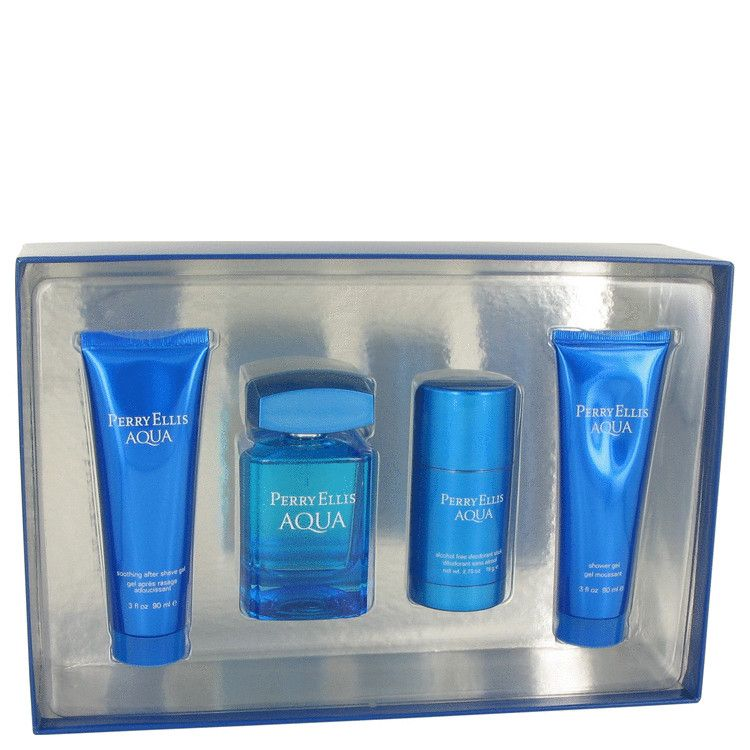 Perry Ellis Aqua Gel Gift Set   Gift Set contains 3.4 oz Eau De Toilette Spray, 2.75 oz Deodorant Stick, 3 oz After Shave Gel and 3 oz Shower Gel  Our Price 60.00
