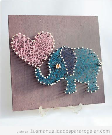Hilorama con forma de elefante, una bonita manualidad para regalar