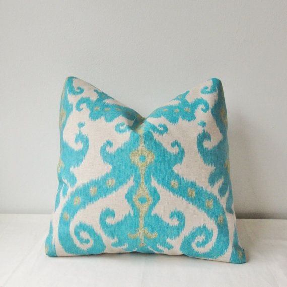Turquoise Ikat Decorative Pillow Cover 18x18 20x20 Square Throw Accent Toss