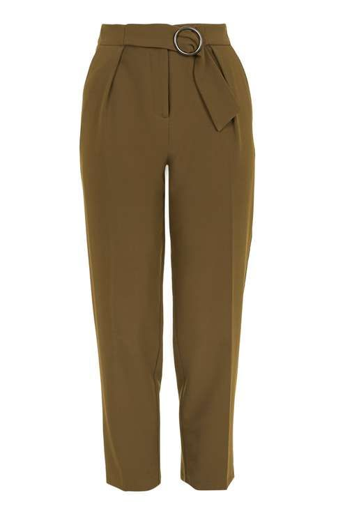 Buckle Belted Peg Trousers