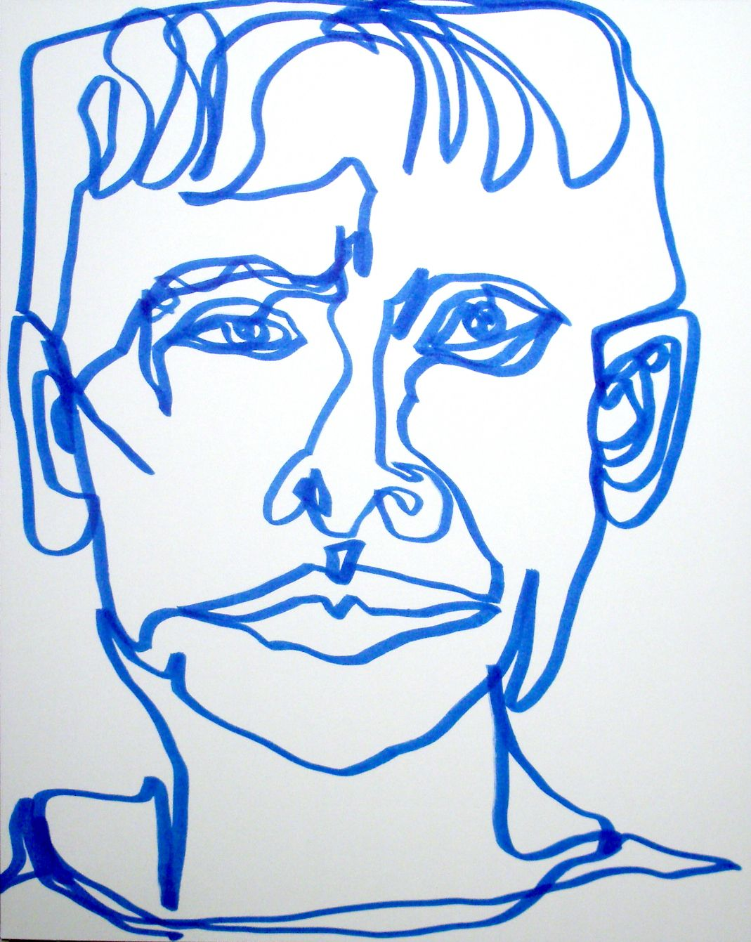 Continuous Line Drawing Of A Face : Quick blue continuous line magic marker self portrait