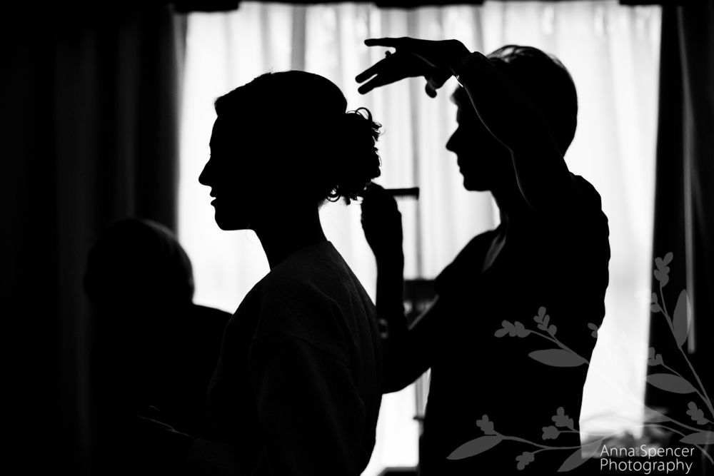 Anna and Spencer Photography, Atlanta Documentary Wedding Photographers. Silhouette of a Bride Getting Ready For Her Wedding.