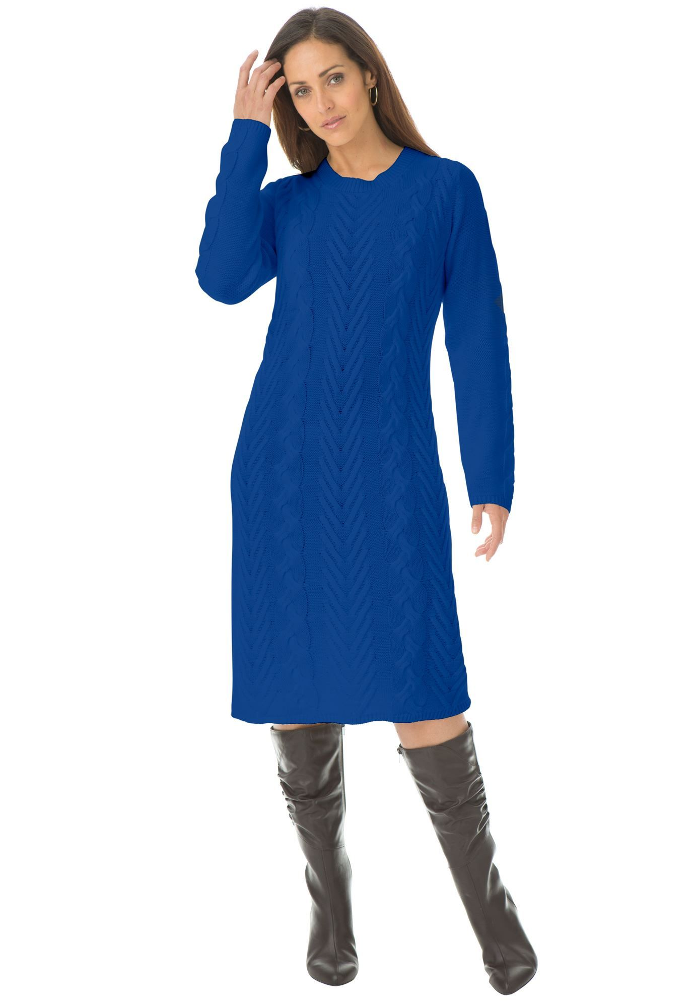 32e77473d12 Cable knit plus size sweater dress in refined soft cable for a flawless  fit.