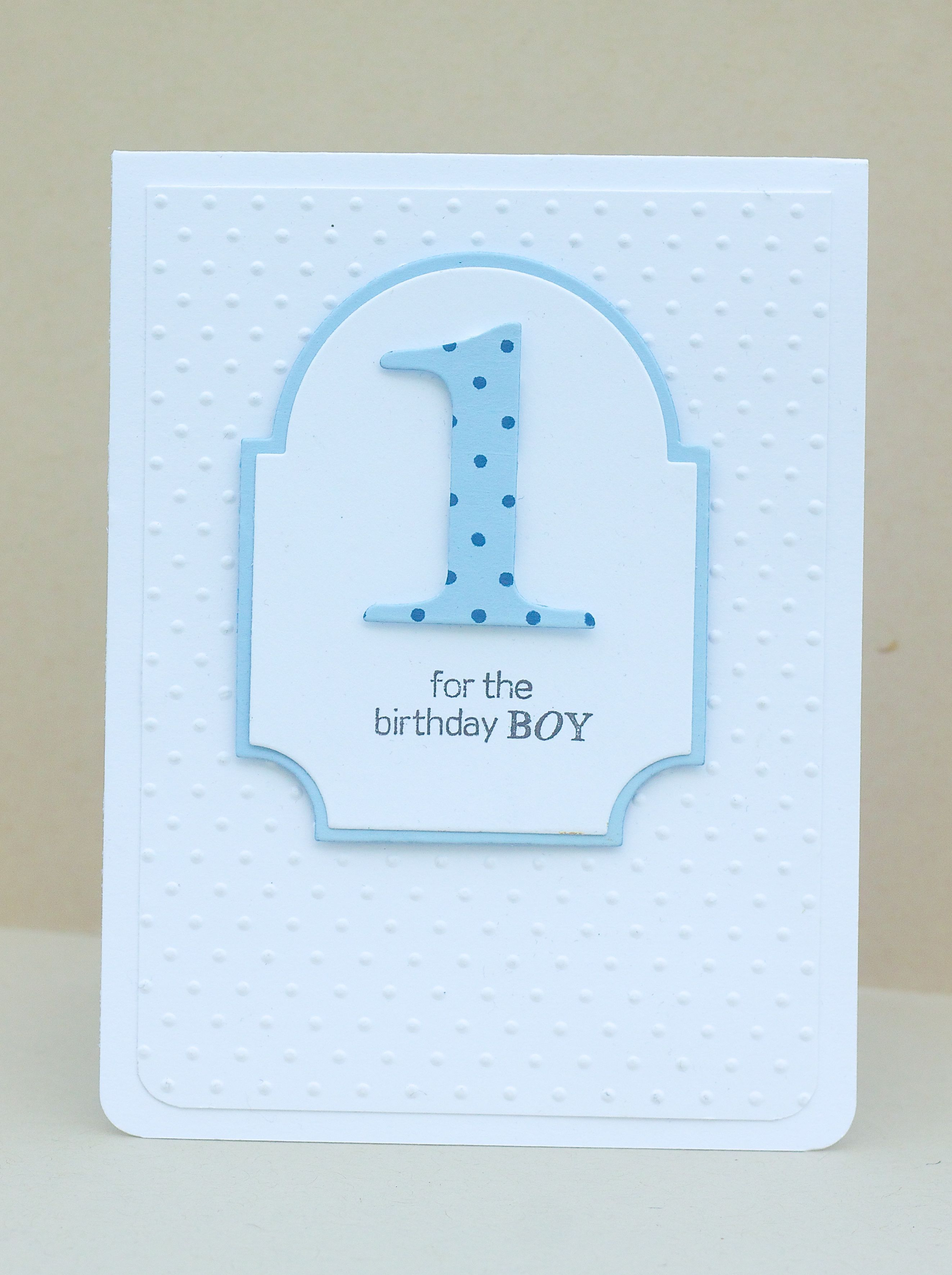 Handmade Birthday Card Clean And Simple For One Year Old Boy Label Die With A Big Cut 1