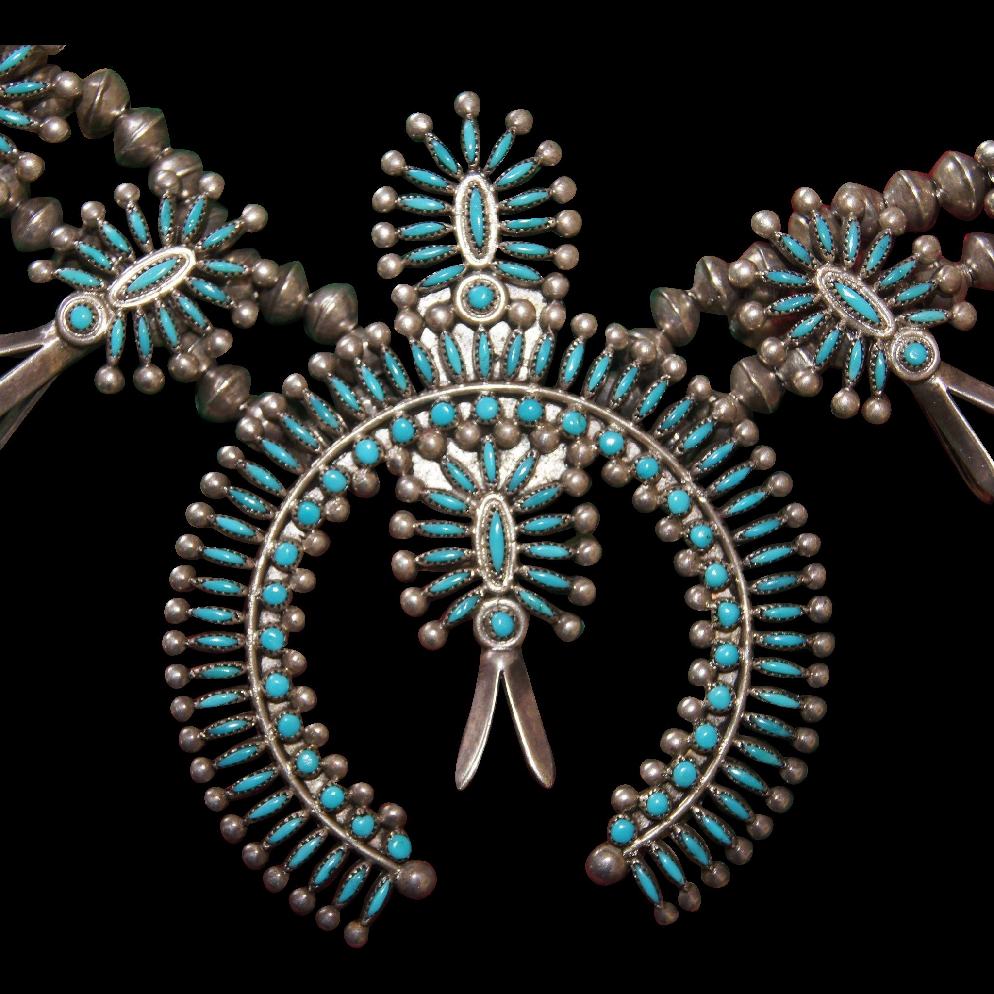 Vintage Zuni Needle Point Squash Blossom Necklace found at www.rubylane.com @rubylanecom