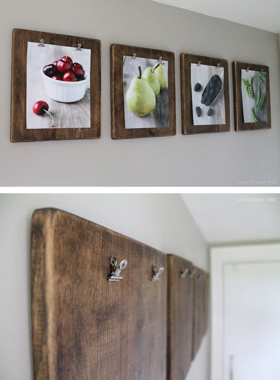 Wood and Binder Clip Art Boards & 36 Pretty Kitchen Wall Decor Ideas to Stir Up Your Blank Walls ...