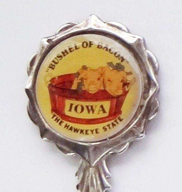 Collector Souvenir Spoon USA Iowa Bushel of Bacon Hawkeye State