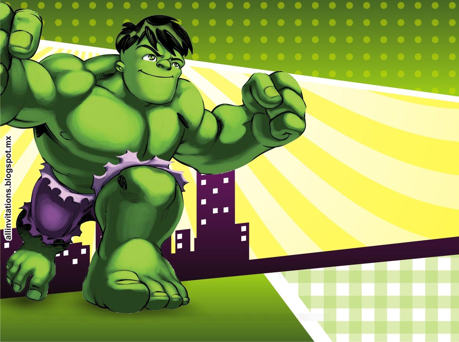 Plantilla Invitacion Hulk Invitaciones De Cumpleaños