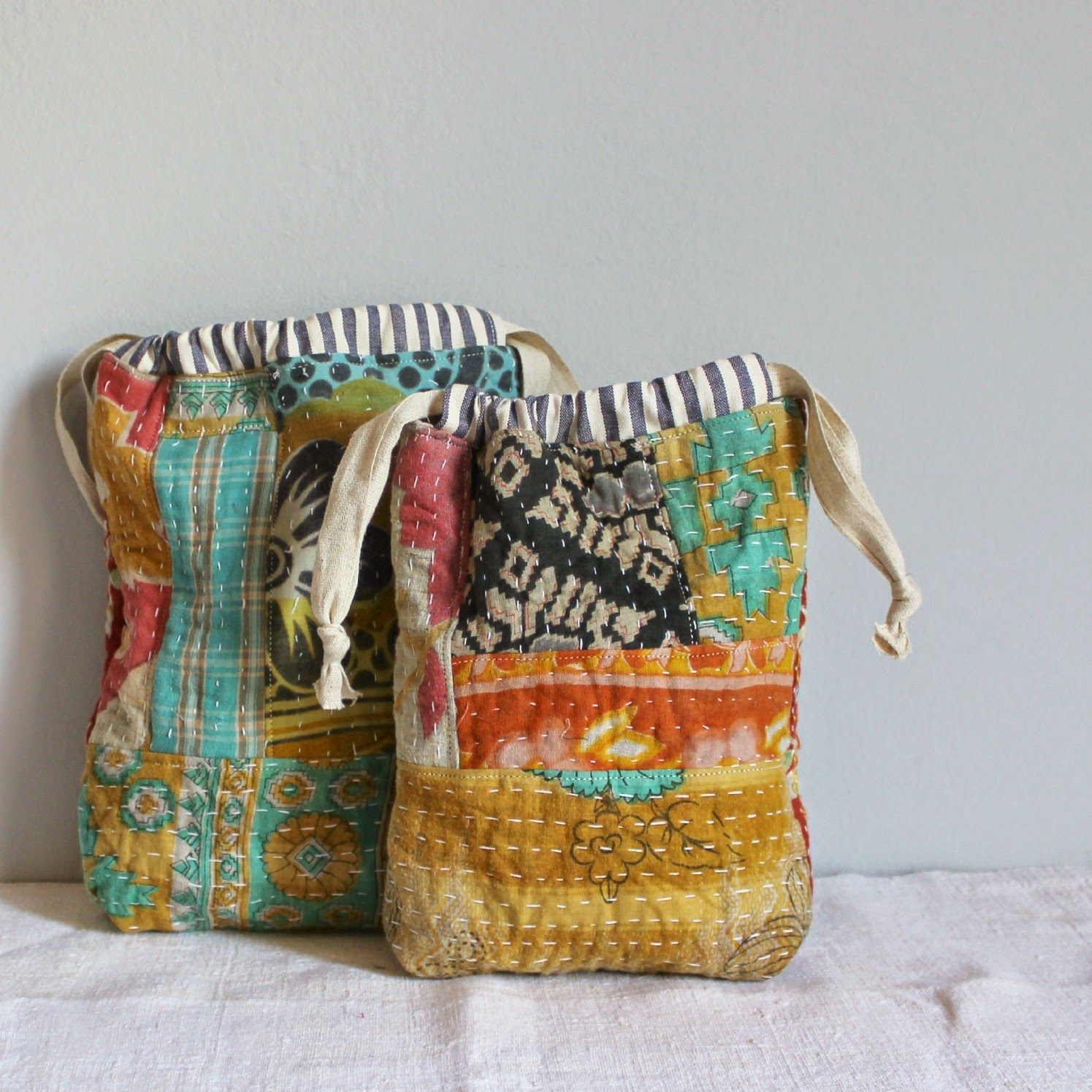 kantha quilted drawstring bags | needle & thread | Pinterest ...