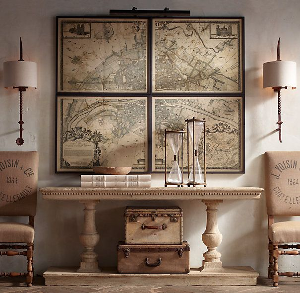 Cool Ways To Decorate With Vintage Maps And Globes Empty Wall - Restoration hardware paris map