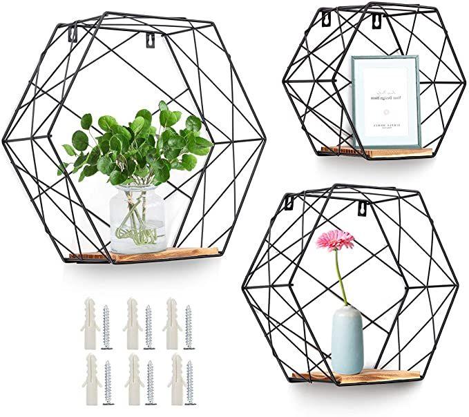 Photo of Boho Bathroom AGSIVO Wall Mounted Hexagonal Floating Shelves Farmhouse Storage S…