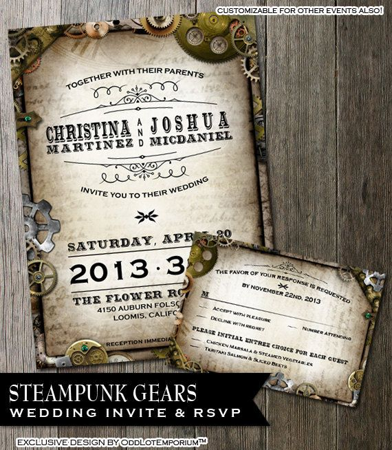 Steampunk wedding invitation rsvp card with multiple gears on steampunk wedding invitation rsvp card with by oddlotemporium maxwellsz