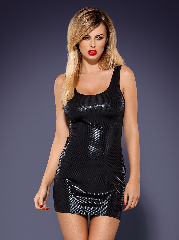 Obsydian Wetlook Dress schwarz 2-5728