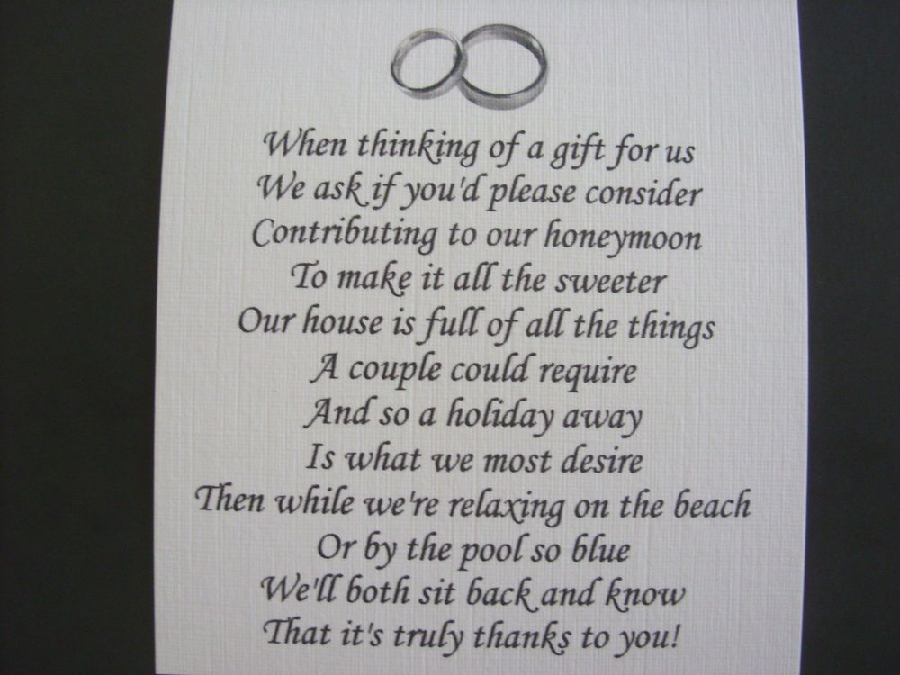 Wedding Invitation Wording Ideas With Poems: Details About 20 Wedding Poems Asking For Money Gifts Not
