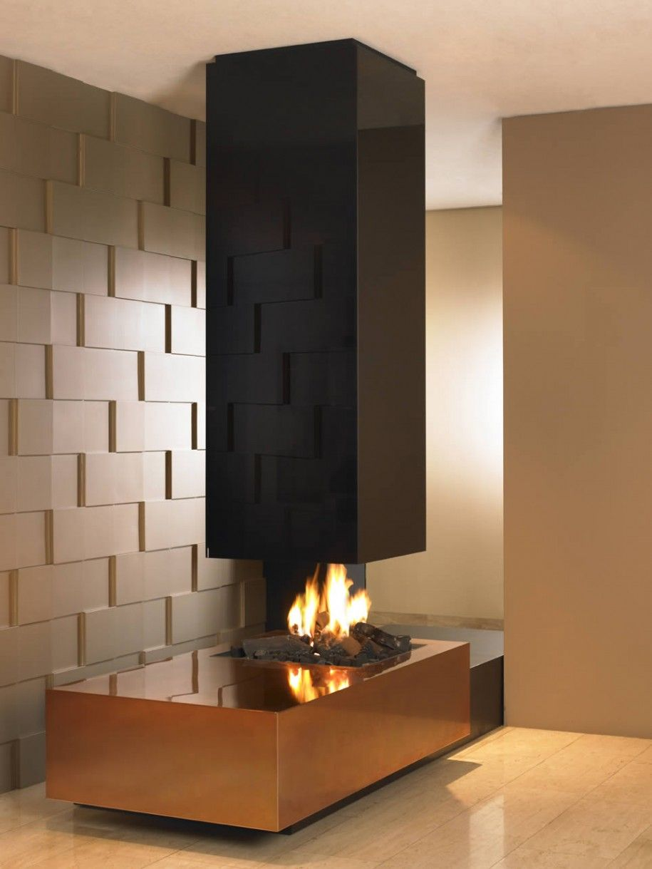 Decorating Hot See Through Gas Fireplace Designs