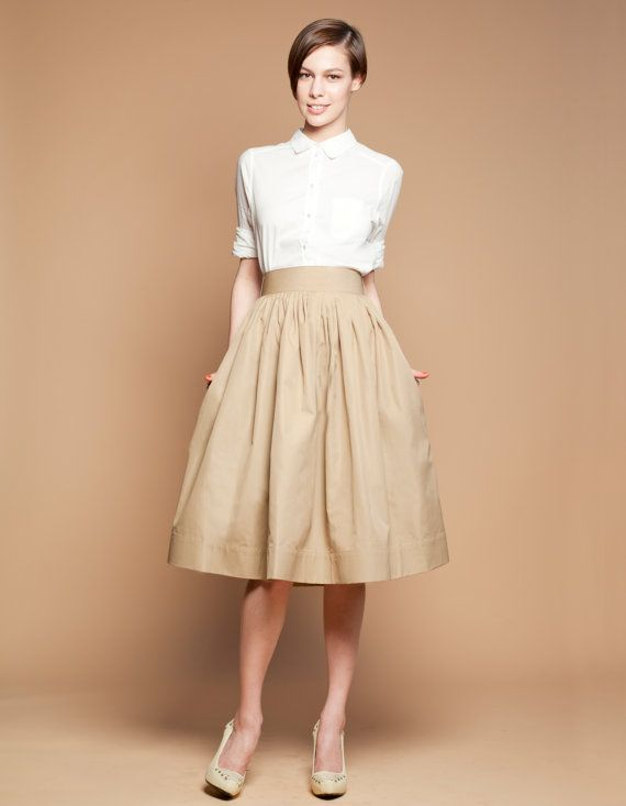05118cbd2 Full Skirt, Midi Skirt, Beige Skirt, Casual Wedding Skirt, Pleated ...