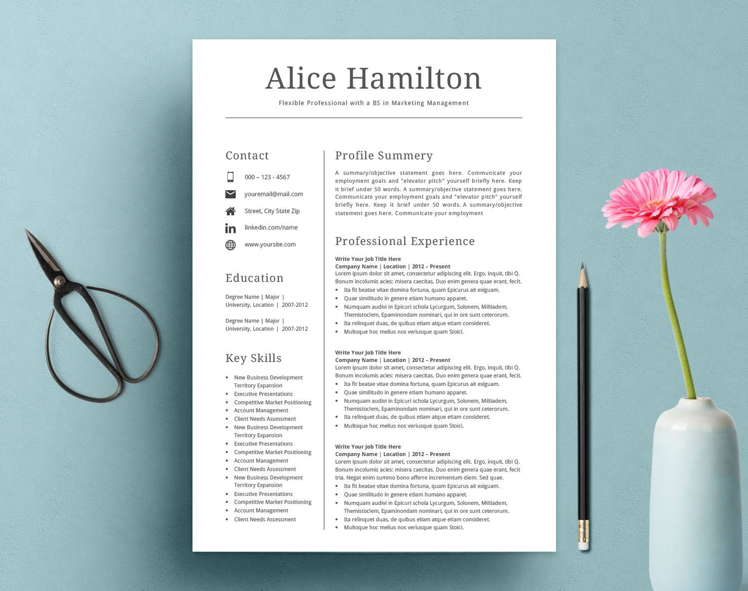 Resume Template Cv Template Resume Template Word  How Cool