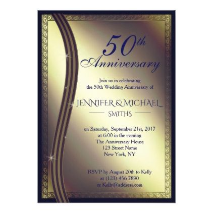 Elegant golden wedding anniversary invite golden wedding elegant golden wedding anniversary invite stopboris Gallery