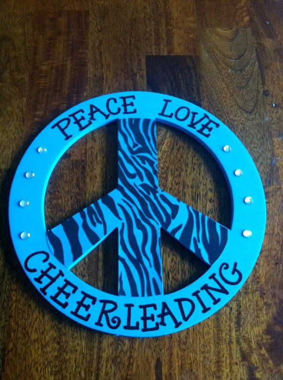Peace Sign Bedroom Accessories: Peace Love Cheerleading Wooden Peace Sign By LuluAnns On