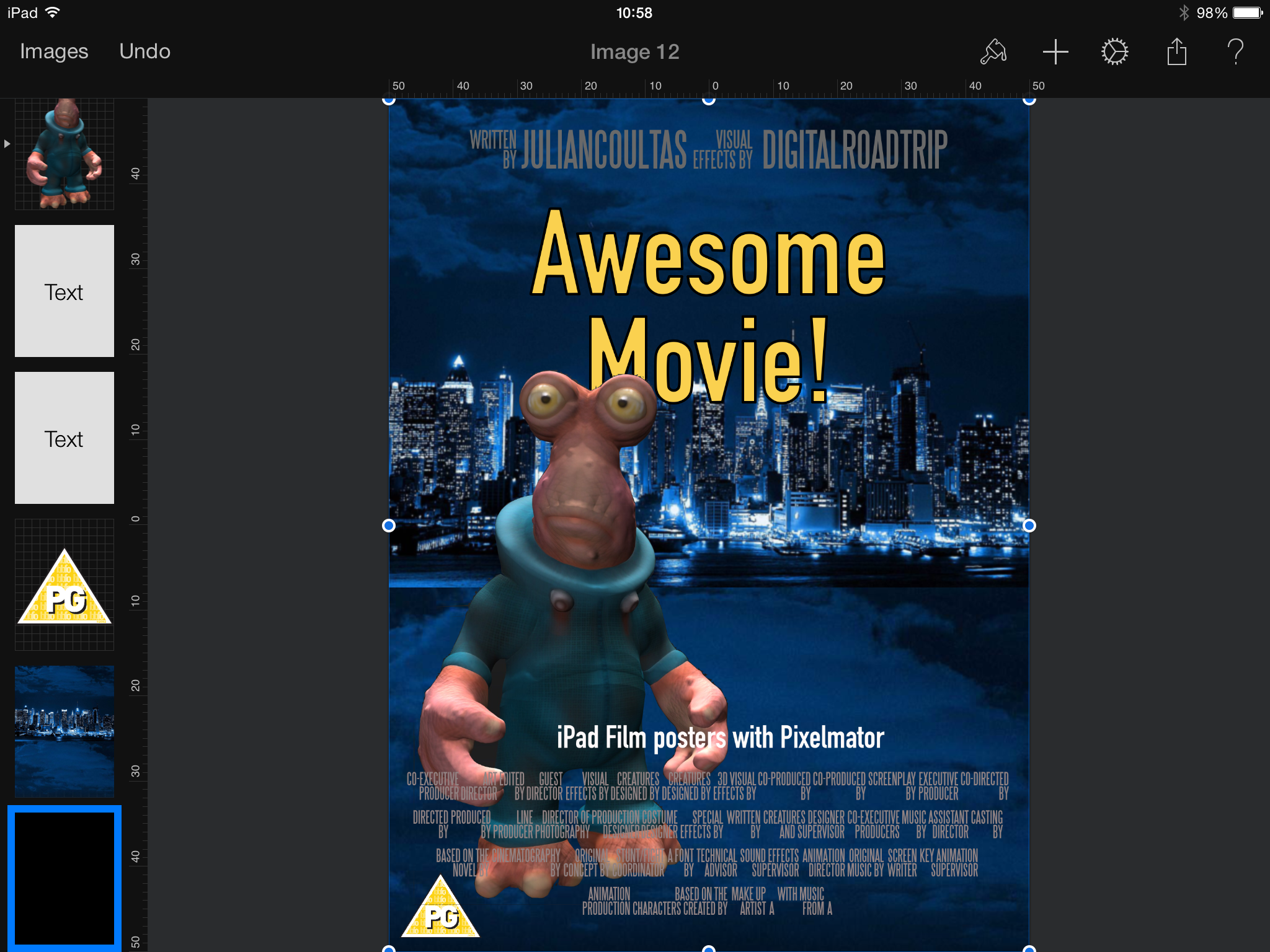 Create Film Posters On The Ipad Using Pixelmator And Anyfont Poster On Film Posters Pixelmator
