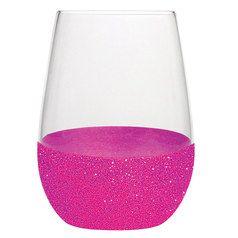 Pink Glitter Stemless Wine