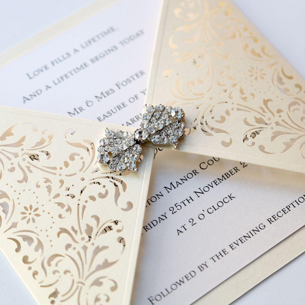 Ivory Gatefold Laser Cut Wedding Invitation - Vintage Wedding ...
