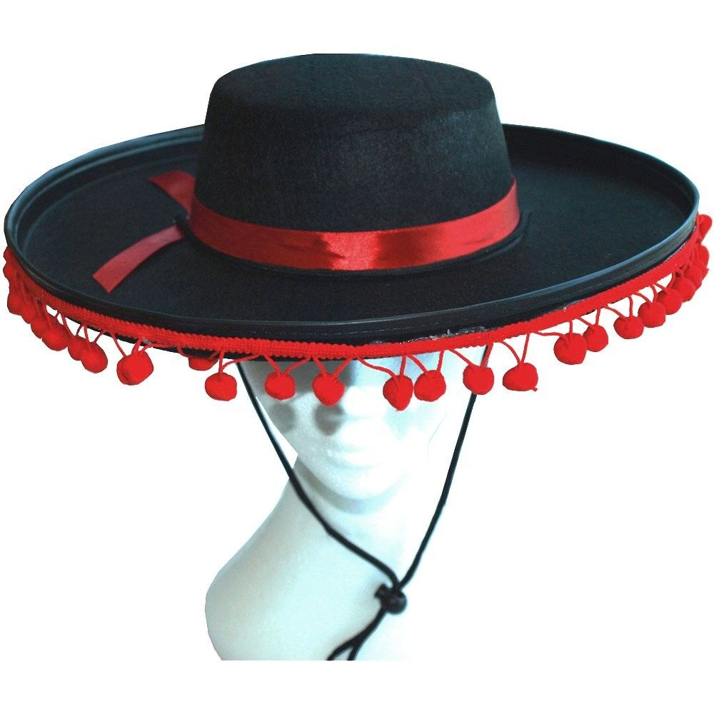 Spanish Hat Black With Red Trims Mexican Fiesta