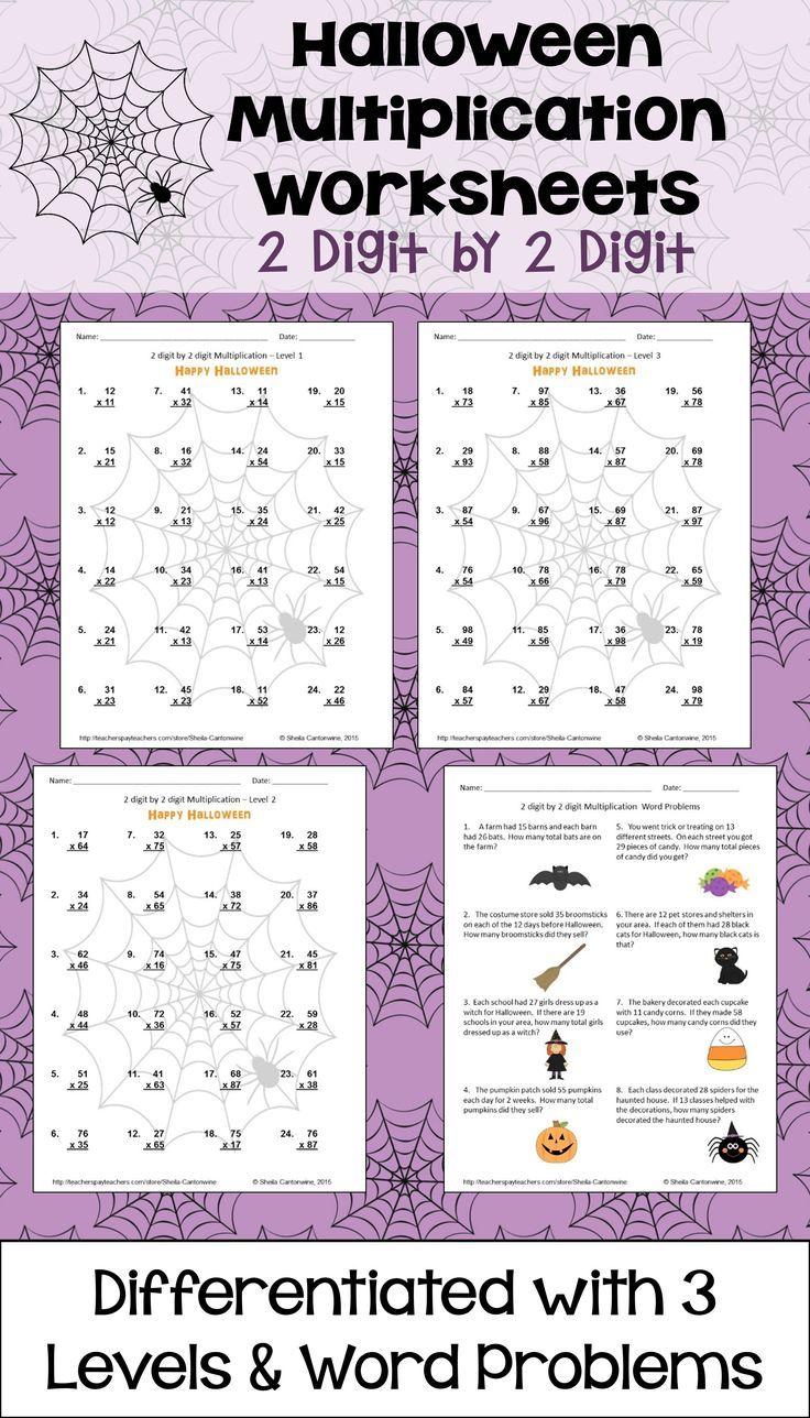 Halloween Math Multiplication Worksheets 2 Digit By 2 Digit