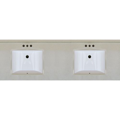 Pictures In Gallery Beige Quartz x Engineered Stone Granite Finish Double bowl Vanity Top