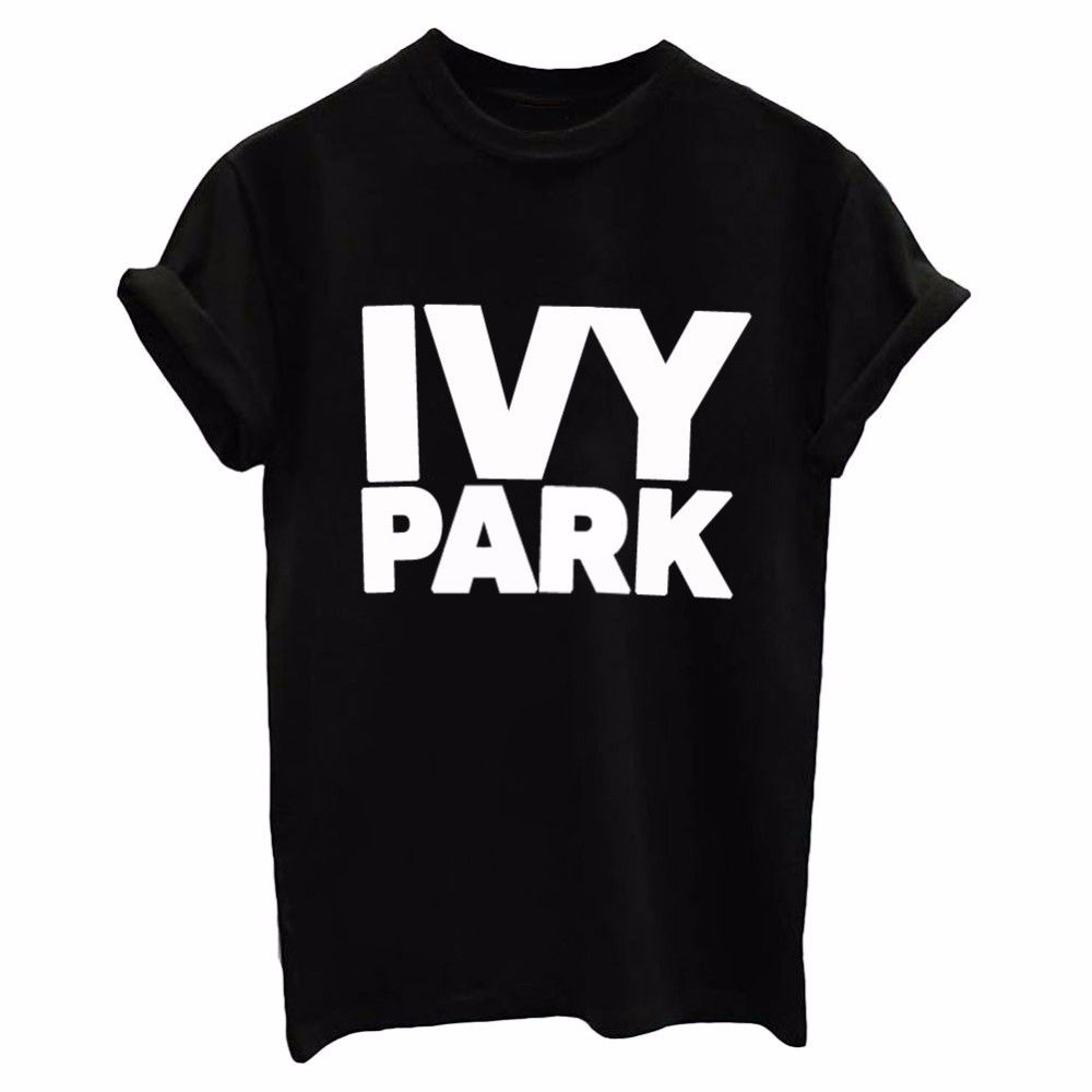 0d8256d10fba2 2017 Spring summer T-shirt Tee print letter IVY PARK man male fmale woman  O-neck BTS tees tops casual top