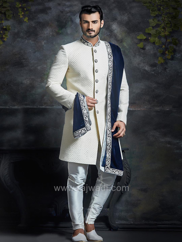 White Embossed Sherwani with Dupatta rajwadi designer exclusive
