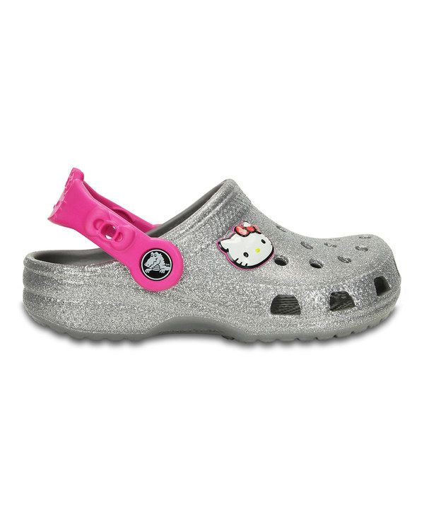 c12ebd5d2 Look at this Crocs Silver Glitter Hello Kitty® Clog on #zulily today ...