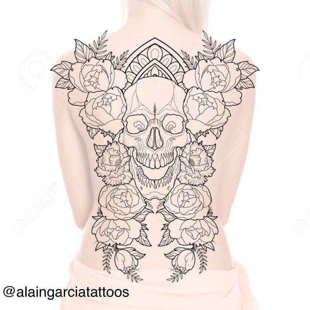 I kinda love doing large symetrical designs #peoniatattoo #skulltattoos