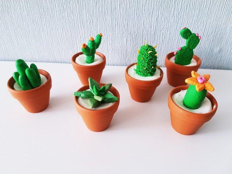 Mini Kaktus Deko Aus Modelliermasse Diy Basteln Im Sommer