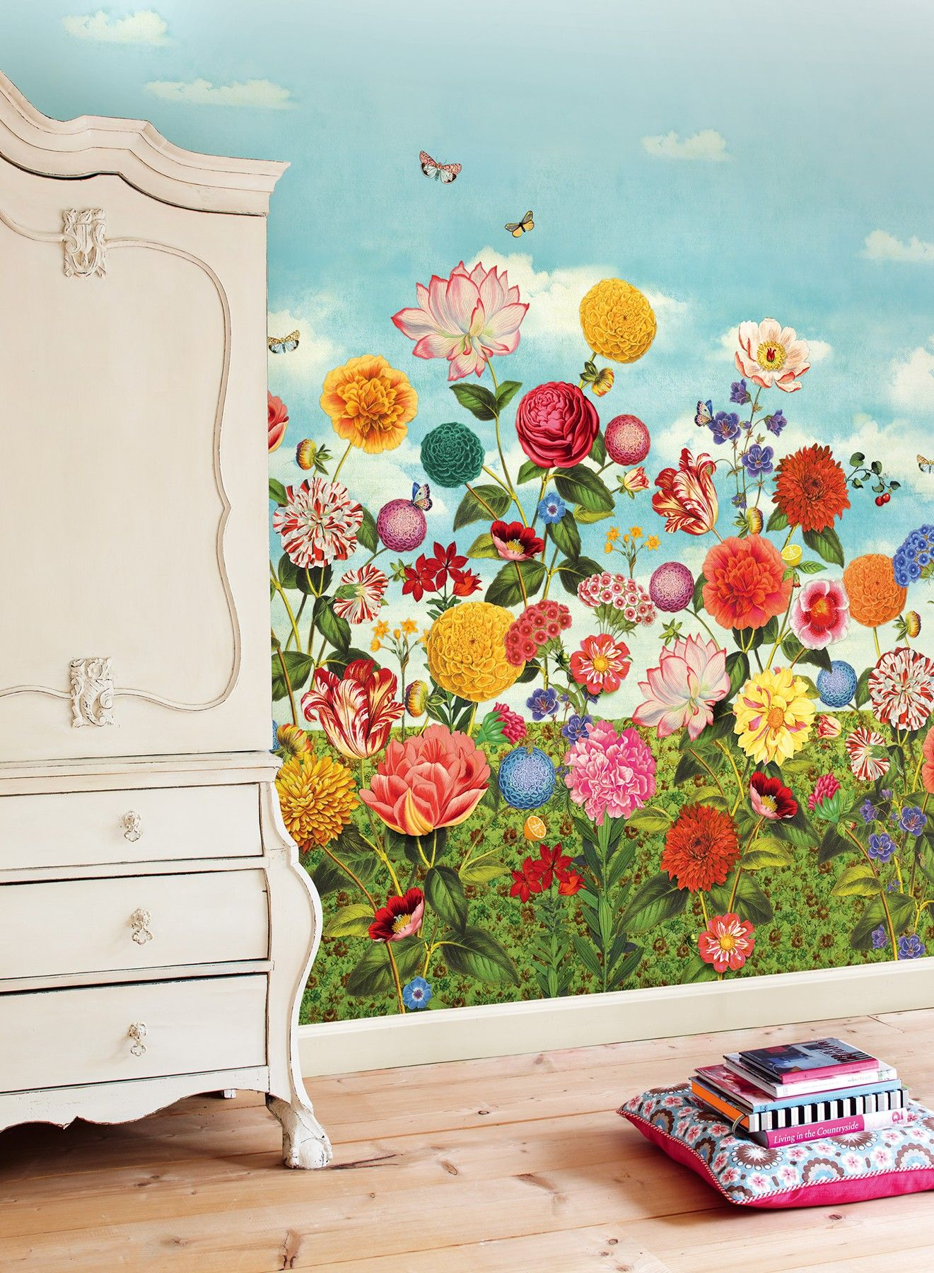 341085 Wild Flowerland Wallpaper Mural The Fabric Co house