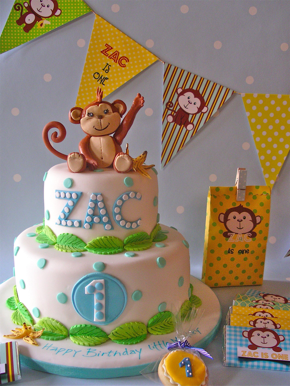 Pin By Gaga On 1st Birthday Themes Boy Birthday Cake Kids Monkey Birthday Cakes First Birthday Cakes