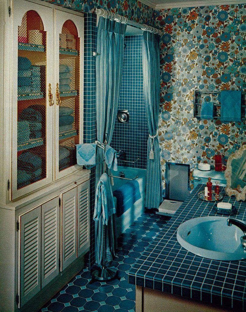 1968 Vintage Home/Bathroom Remodeling, Blue Floral ... on Floral Tile Bathroom Ideas  id=16857