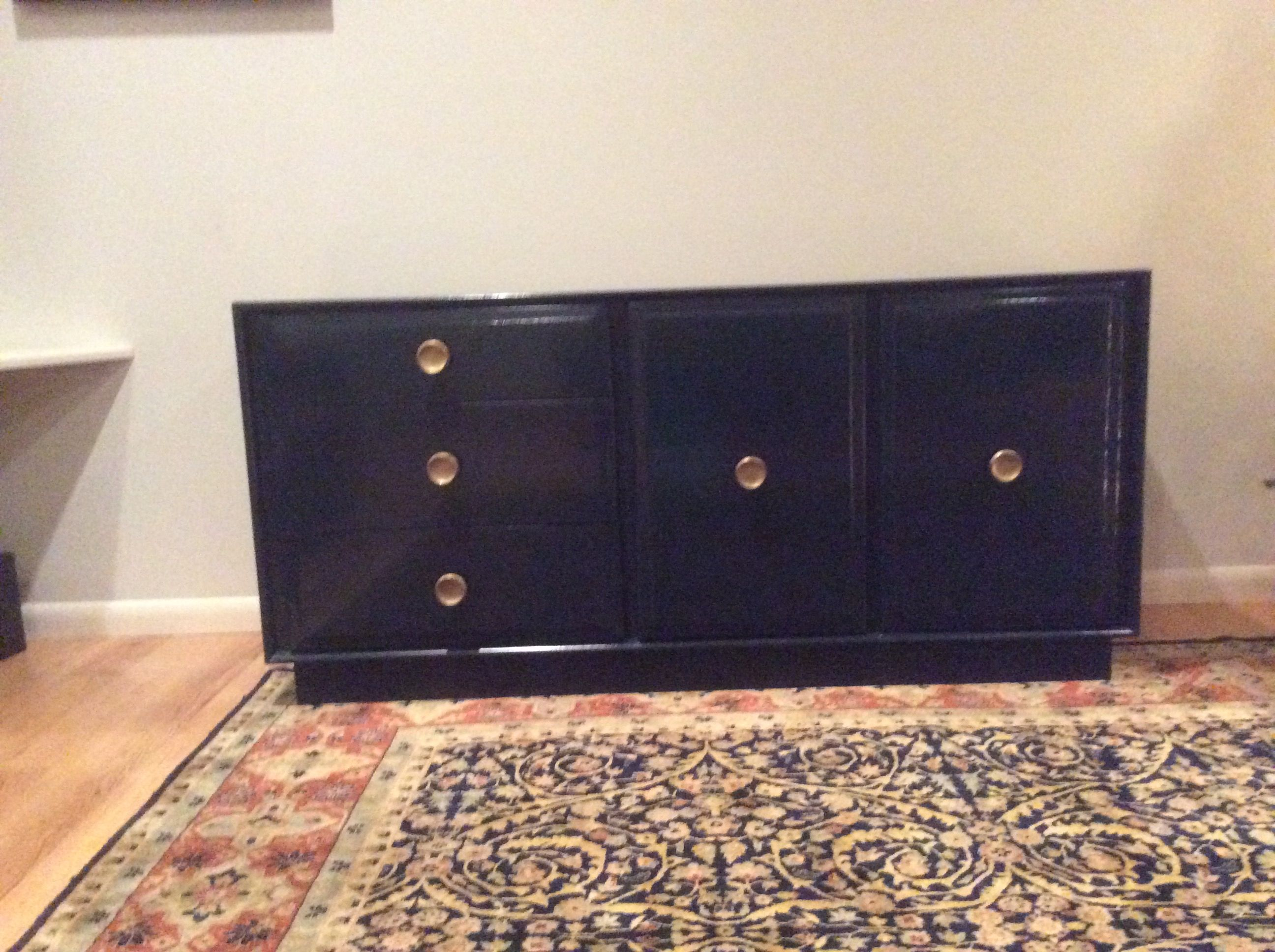 Buffet Sideboard Fantastic Furniture Mid Century Refurnished Sideboard Navy Laquer With Round Gold Knob