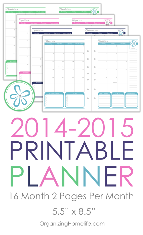 Printable Calendar Planner Size Via Organizing Homelife