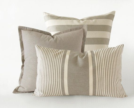 Set of 3 light taupe decorative pillow covers striped and plain