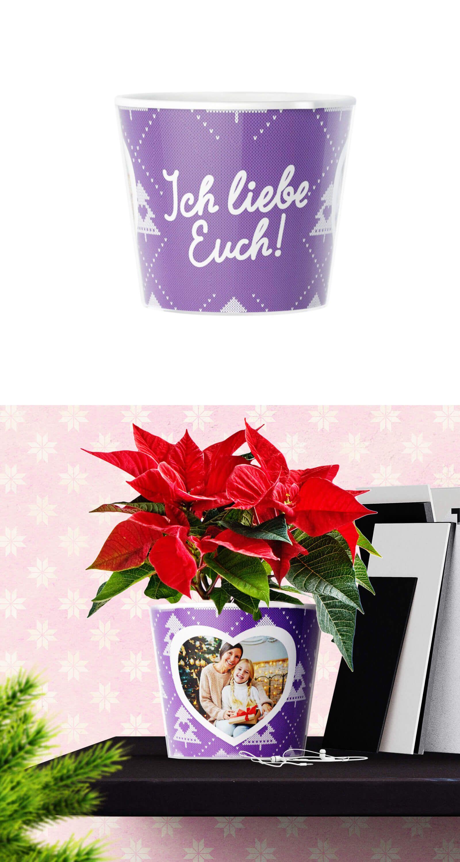Einfaches Blumentopf Weihnachtsgeschenk basteln mit zwei Fotos von ...