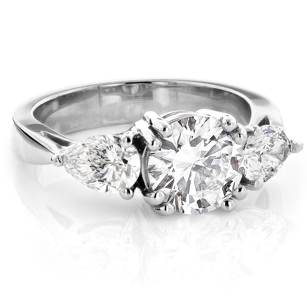 Platinum Three Stone Round and Pear Diamond Engagement Ring 3ct G/VS ...