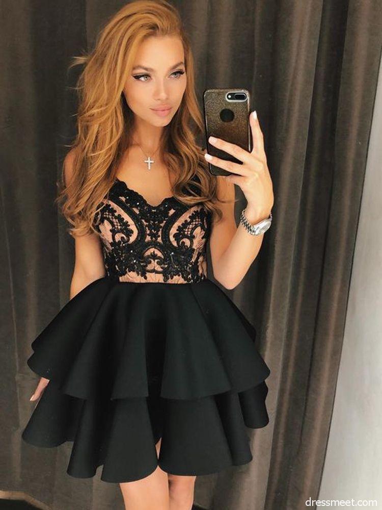 1b802819e95 Cute A Line V Neck Backless Satin Black Lace Short Homecoming Dresses, Short  Prom Dresses, Little Black Dresses HD0719014 | Dressmeet.com