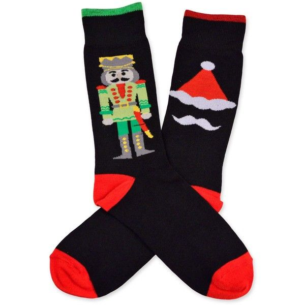 54799a52be Men s Christmas Nutcracker Red  Black Crew Socks ( 11) ❤ liked on Polyvore  featuring