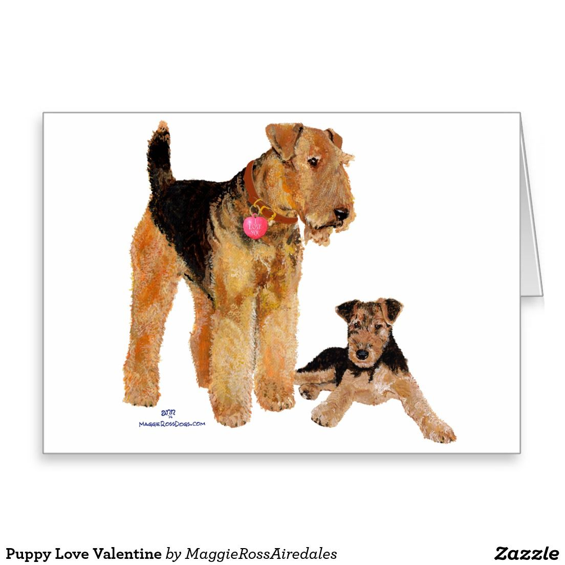 Puppy love valentine greeting card airedale welsh greeting card puppy love valentine greeting card m4hsunfo Images