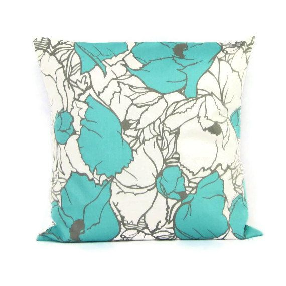 Aqua Throw Pillow Cover, Aqua Floral Pillow, Aqua Gray