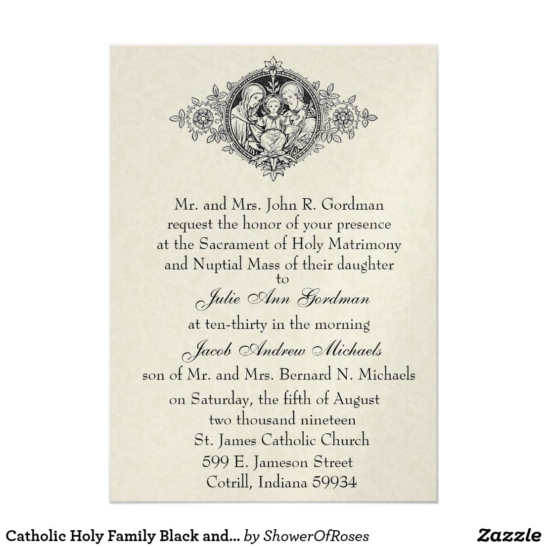 Catholic Holy Family Black And White Wedding Invitation