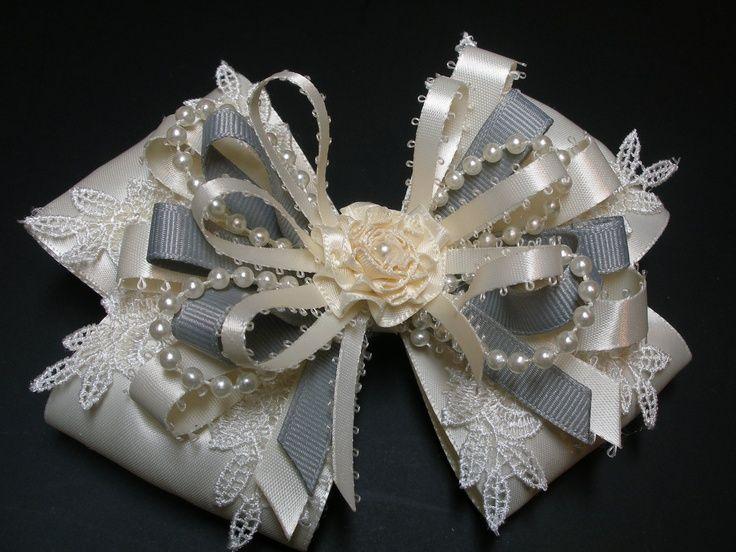 ivory satin hair bow big large elegant wedding hair bows