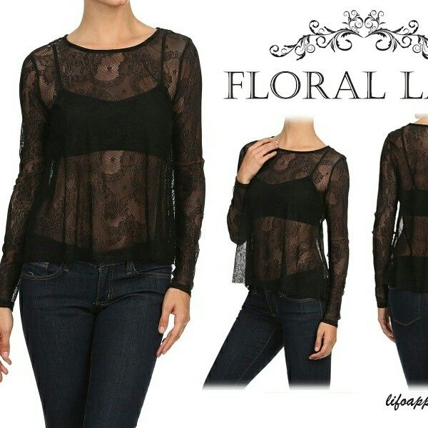 Floral lace, relaxed top with inside bra lining.. www.lifoapparelusa.com