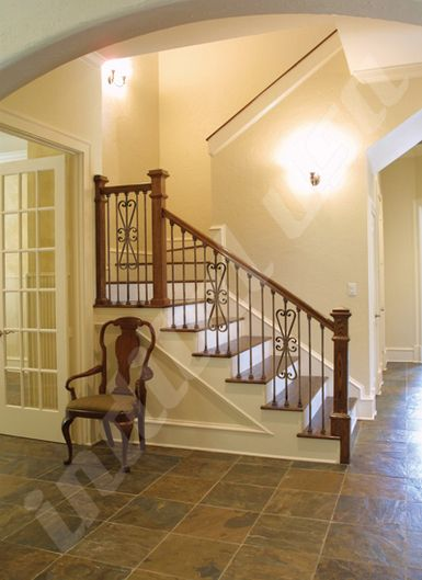Best Powder Coat Stair Railing With A Scroll Design And Straight Bars By Indital Usa Wrought Iron 400 x 300